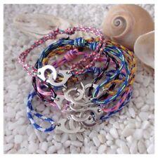 Bracelet menotte argenté et cordon paracorde rose - violet