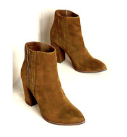 NEW NIB$178 ANTHROPOLOGIE OLIVE GREEN SUEDE ACCORDION ANKLE BOOT BOOTIES HEELS 6