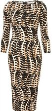 Topshop Leopard Tribal Animal Midi Bodycon Celebrity Dress Vintage UK 10 38 US6