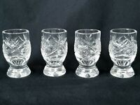 4 Vintage Hand Cut Blown Glass Cordial Apertif Shot Glasses Curvy Footed