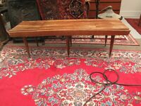 "VTG MCM SLAT COFFEE TABLE BENCH, EXPANDING WALNUT TEAK WOOD FINISH 52"" TO 62"""