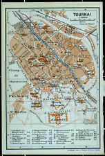 TOURNAI, alter farbiger Stadtplan, datiert.1910, (Doornik)