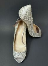 Enzo Angiolini Shoes Heels Textured Peep Toe Silver Womens Size 7.5 M