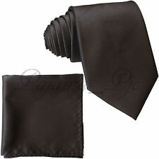 New Microfiber Satin Solid Neck tie and & Pocket Square Hankie Set wedding Prom