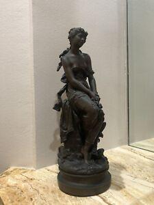 Bronze Antique Sculpture La Reve  Signed Hip Moreau Made In France