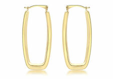 9ct Yellow Gold Rectangle Creole Earrings Solid Gold Box Gift Jewellery