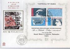 France superbe enveloppe du bloc feuillet ARPHILA 1975 oblitération du 6 juin 75