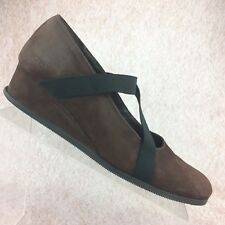ARCHE France Elastic Mary Jane Wedge Shoe Brown Nubuck Leather - Sz 40 EU/ US 9
