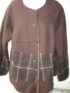NWT New $750 BABETTE SF Artsy Brown JACKET, Size Large, Poly Looks Lk Wool