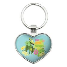 Tiny Loves Flowers Dinosaur Train Heart Love Metal Keychain Key Chain Ring