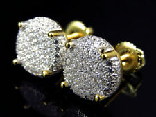 XL Sterling Silver Lab Diamond Button Prong Earrings in Canary Gold Finish 12mm
