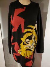Vintage ICEBERG Italy UNISEX Size S Wool Sweater Sleeping Tiger