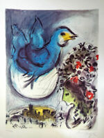 "Very Rare Marc Chagall Signed Lithograph ""Big Blue Bird"" 69X50 cm"