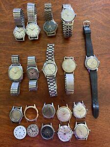 Vintage Lot 16+ Men's Watches & Parts ORION KIENZLE ROAMER BENRUS ELGIN