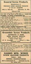 1946 Hammo Mfg Works Chicago Greendale Screw Products Detroit Ad