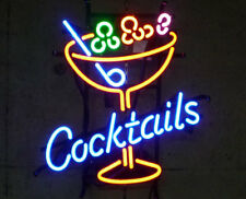 """New Cocktails Martini Cup Bar Beer Man Cave Neon Light Sign 20""""x16"""""""