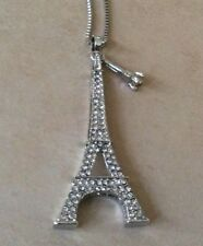 Betsey Johnson Necklace Silver Crystal Eiffeltower Pendant New Perfect Gift!