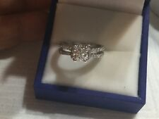 18k white gold and GIA certified diamond engagement ring 1.12tcw