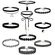 10pc ladies gothic crochet black gift necklace retro chic jewellery CHOKER  SET
