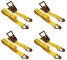 "(4) New 1.5"" x 15' 4000 lb Ratchet Straps J Hook Heavy Duty Tie Downs"