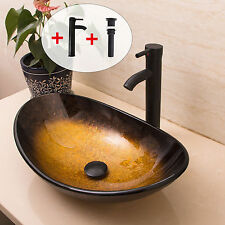 New listing Bathroom Tempered Oval Glass Vessel Sink Orb Faucet&Pop up Drain Combo Set Brown
