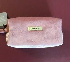 Tahari Velvety Pink Cosmetic Bag W/ Travel Bottle. New.