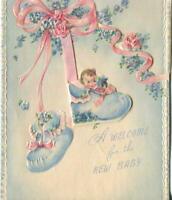 VINTAGE DIE CUTE EMBOSSED NEW BABY PINK ROSES BLUE VINCA BOOTS MCM GREETING CARD