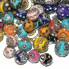 IB210 Assorted Color, Shape & Size 14mm - 20mm Embellished Indonesia-Style Beads