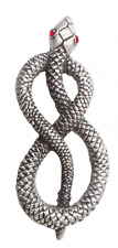 More details for snake with crystal eyes pewter brooch pin badge