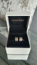 Genuine Silver Pandora Bracelet Clip Charm - Swirl Clips x2 *With Box*