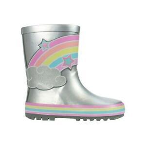 Girls Silver Rainbow Wellies