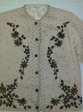 Beige BEADED knit Monrose Sportswear sweater Size 36/M Vintage Tan 100% Wool