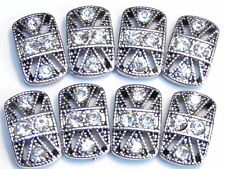 8 - 2 HOLE SLIDER BEADS ORNATE ANTIQUED SILVER TONE CLEAR CRYSTAL STUDDED
