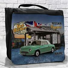 Personalised Nissan Figaro Classic Car Vintage Travel Hanging Wash Bag Gift