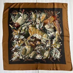"Vintage Hermes Henri de Linares Gibiers Game Rabbit & Bird Silk Scarf Brown 35"""