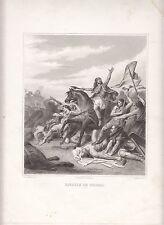 Bataille de Tolbiac ROI CLOVIS GRAVURE ANTIQUE PRINT 19 eme