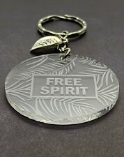 Free Spirit Engraved Acrylic Keyring Leaf Charm Stocking Stuffer Gift Ideas