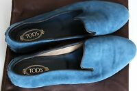 BNWOT Tod's Teal Blue Suede Leather Flats Womens 5 EU 38 Loafer Ballerina Loafer