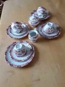SELTMANN WEIDEN Bavaria Theresia CHINA ROT KAFFEEGEDECKE +Milch+Zucker  4 Pers.