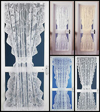 LACE NET CURTAIN DOOR PANELS - FOUR BEAUTIFUL DESIGNS AVAILABLE - FREE TIEBACK