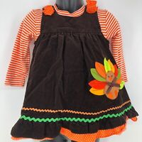 Rare Editions Thanksgiving Turkey Outfit Size 18mo Girl's Dress Combo