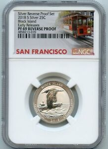 2018-S 25c Block Island Quarter Dollar Early Releases NGC PF 69 Reverse Proof