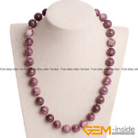 Handmade Natural Lepidolite Beaded Birthstone Long Necklace Fashion Jewelry Gift