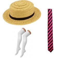 Straw Boater Hat Pink Black Tie Socks School Girl St Trinians Fancy Dress