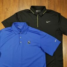 Lot 2 Nike Mens Large Golf Dri-Fit Polo Shirts Blue Black Solid Embroidered