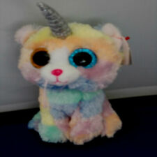 TTY Beanie Baby Soft Toy Multicoloured Ty36250 Heather The Unicorn Cat 15cm