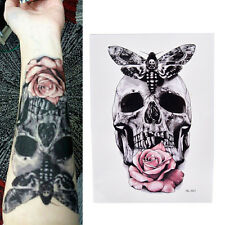Skull With Moth And Flower Cool Tattoo Waterproof Body Tattoo Stickers Pip!@