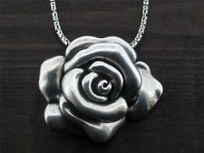 Rose Pendant Sterling Silver .925 Necklace Jewelry