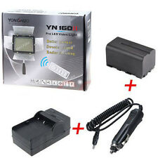 Yongnuo YN-160 II LED Video Light + NP-F750 Battery+Charger For Canon SLR Camera