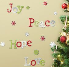 JOY PEACE LOVE HOPE MIRRORS stickups 24 Holiday peel & stick Christmas decals
